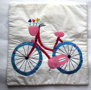 Cushion cover, Appliqué, Bicycle