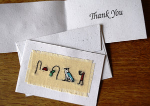 Card, embroidered, Hieroglyphic small