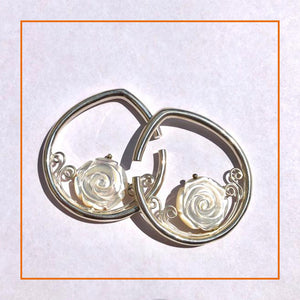 Mother of pearl carved rose ear weights