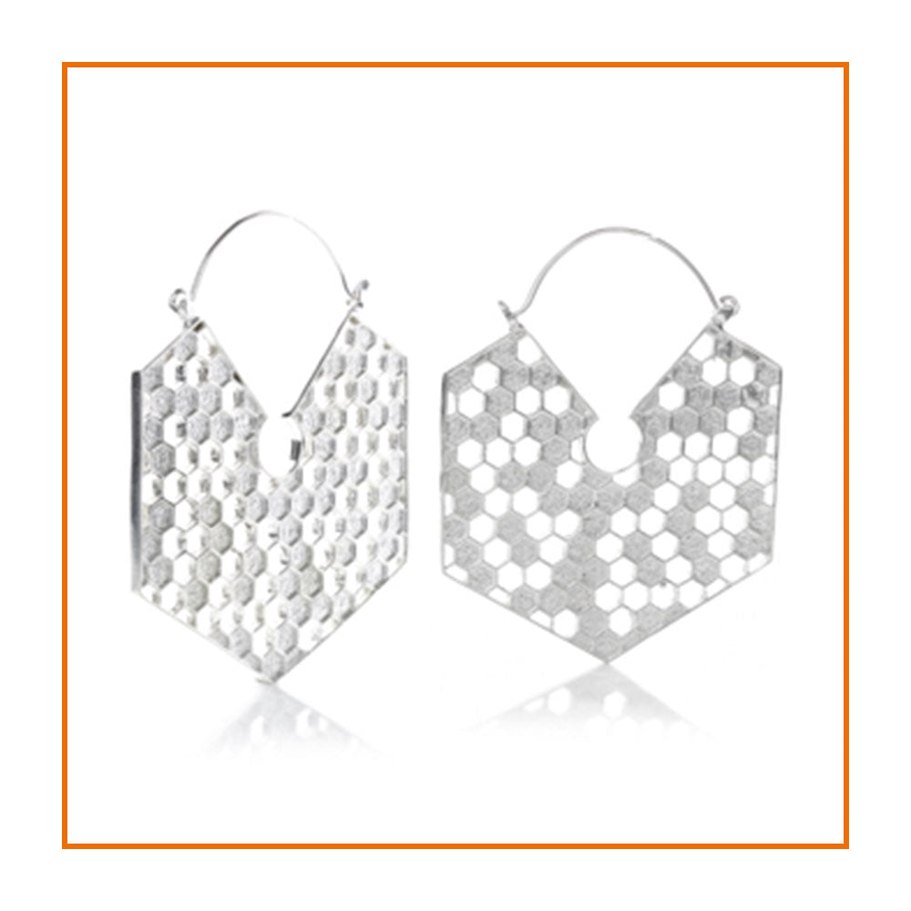 Silver brass honeycomb earrings