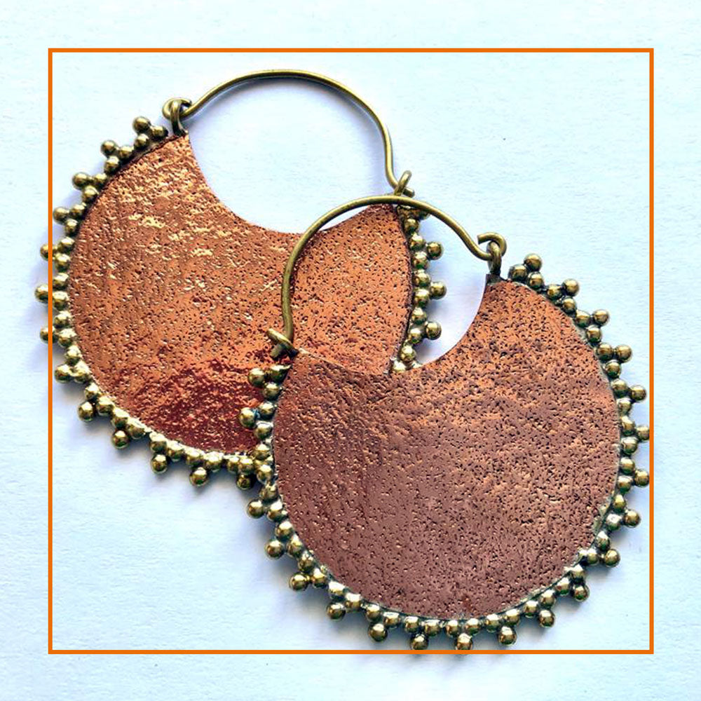 Silver plate and copper earrings