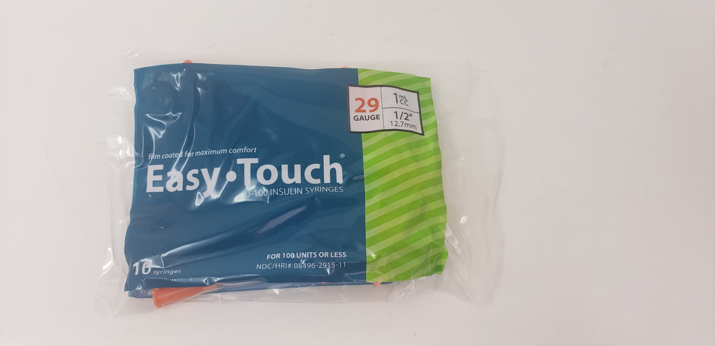 EasyTouch Insulin Syringe 29g, 1cc/mL 1/2 in. (12.7mm) - (1 pack of 10 syringes)