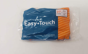 EasyTouch Insulin Syringe 27g, .5cc/mL 1/2 in. (12.7mm) - (1 pack of 10 syringes)