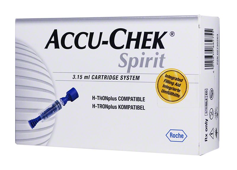 Disetronic Accu-Chek Spirit 3.15mL Plastic Cartridge System, Box of 5