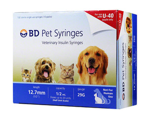 "BD U-40 Pet Syringes 29G, 1/2cc, 1/2"" - Half Unit Markings 100ct"