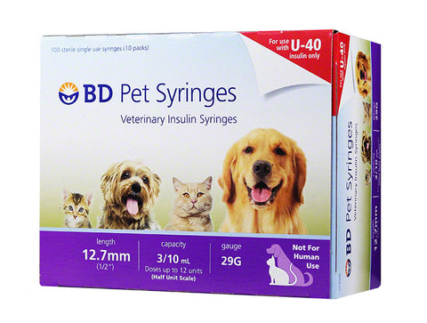 Image of BD U-40 Pet Syringes 29G