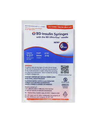 BD Veo Syringes 31g 1/2cc 6mm - (1 pack of 10 syringes)