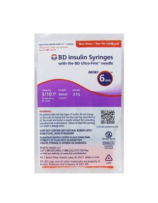 BD 31 Gauge Insulin Syringe 0.3 cc 15/64 in (6 MM) BD Ultra-Fine - (1 pack of 10 syringes)