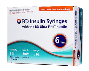BD Ultra-Fine Syringes 31G 1cc 6mm 90ct