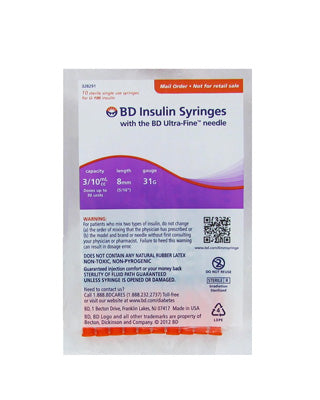 BD Ultra-Fine Insulin Syringes 31 Gauge 0.3 cc 5/16 in - (1 pack of 10 syringes)
