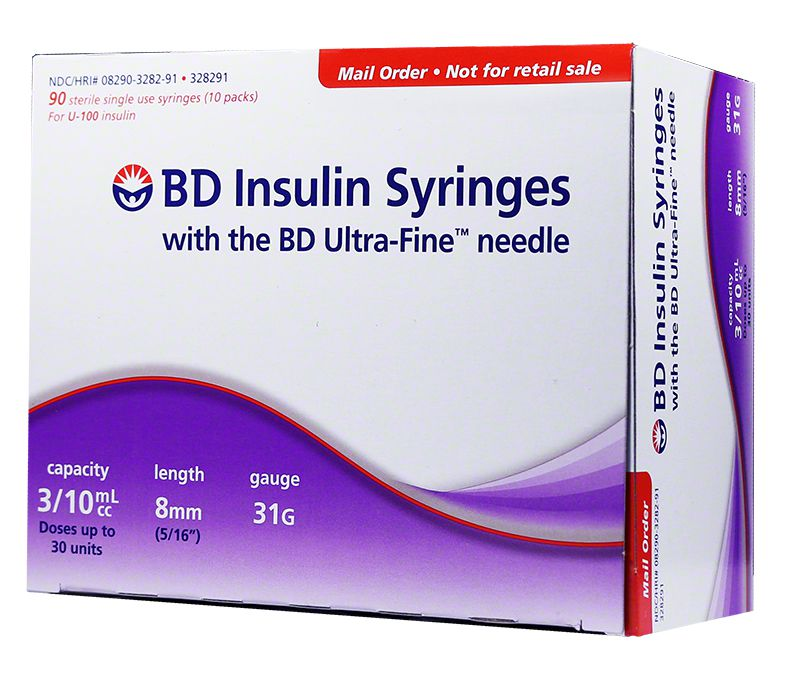 "BD Ultra-Fine U-100 Insulin Syringes 31G 3/10cc 5/16"" 90ct"