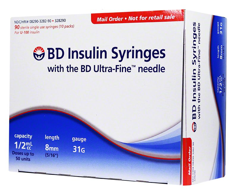 "BD Ultra-Fine Insulin Syringes Short Needle 31G 1/2cc 5/16"" 90ct"