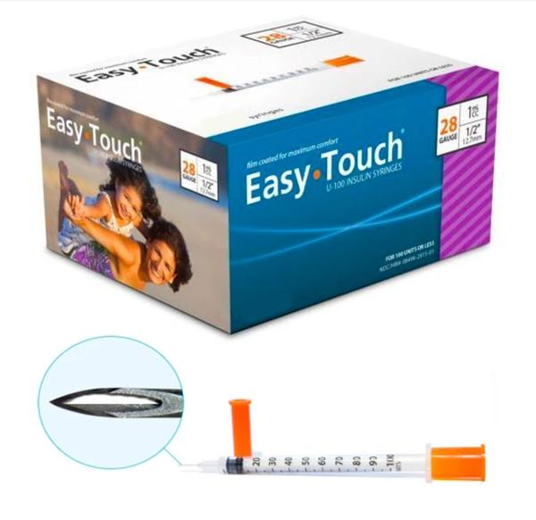 Easy Touch 28 Gauge Insulin Syringes - 100