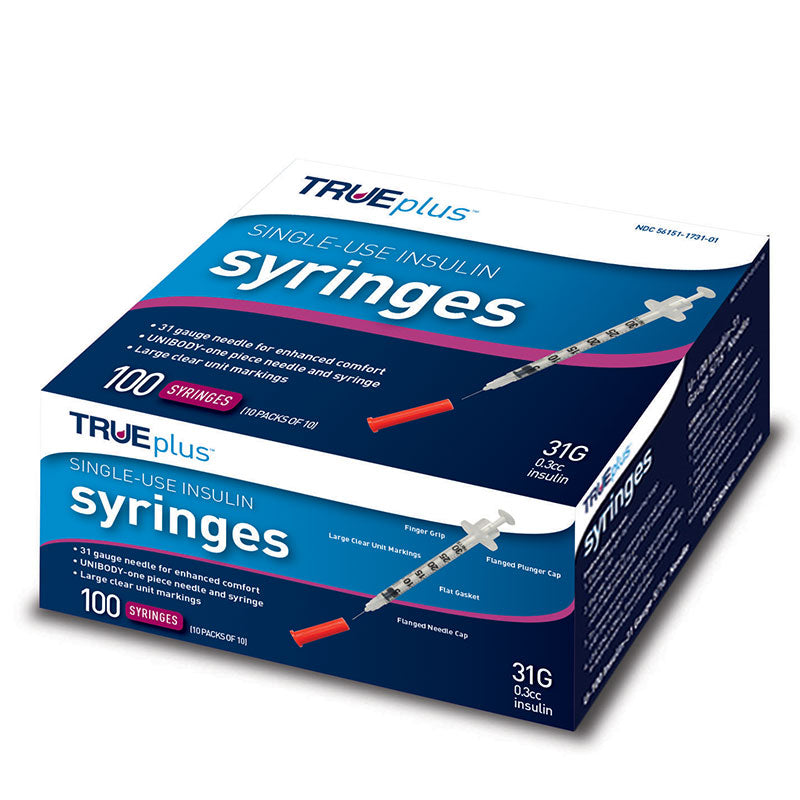 "TRUEplus U-100 Insulin Syringes 31G 3/10cc 5/16"" 100/box"