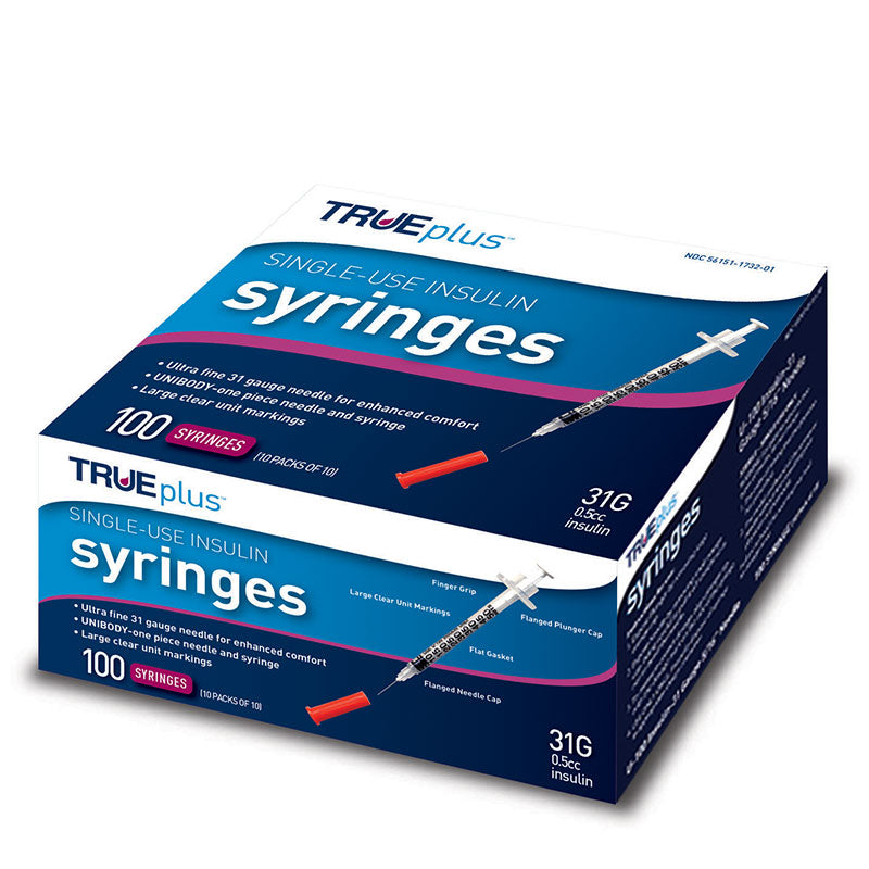 "TRUEplus U-100 Insulin Syringes 31G 1/2cc 5/16"" 100/box"