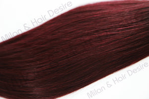 Premium Peruvian Burgundy With Dark Root Close Up