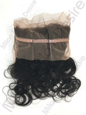 Virgin Peruvian Body Wave 360 Lace Frontal Packaged Up