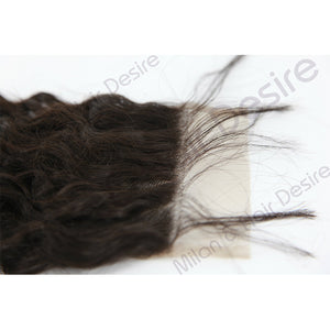 Virgin Peruvian Deep Curl Lace Closure Close Up