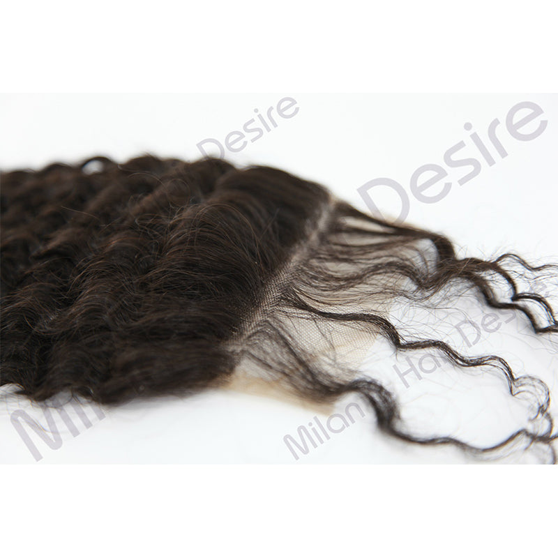 Virgin Peruvian Kinky Curl Lace Closure Close Up