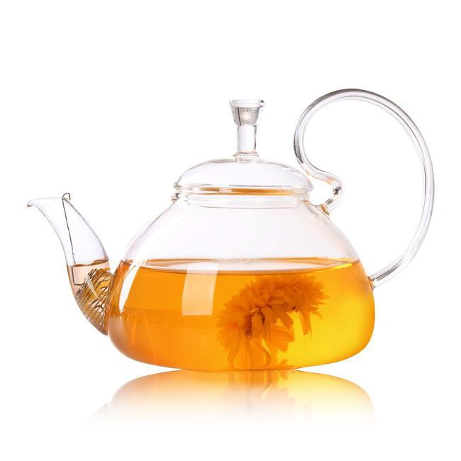 High Handled Glass Teapot with stainless steel strainer for brewing loose leaf organic and herbal tea