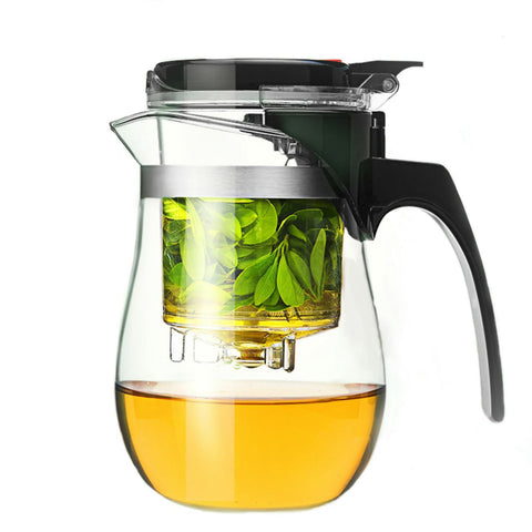 Modern Glass Teapot with Removable Drip-down Infuser for brewing loose leaf organic and herbal tea