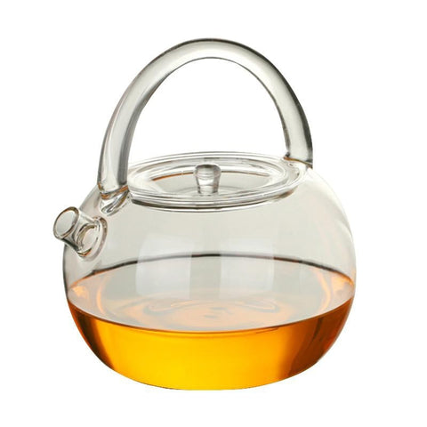 Classic Glass Teapot with clear Coloured Handle  for brewing loose leaf organic and herbal tea