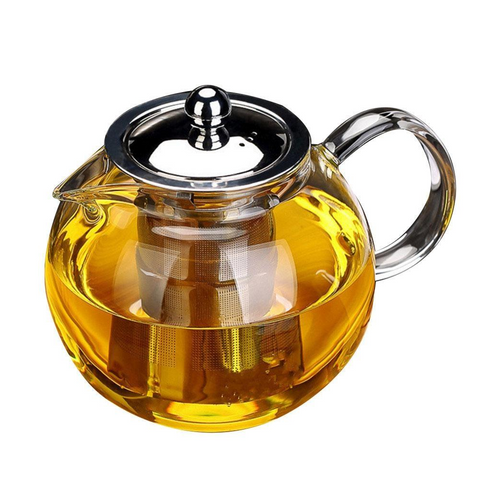 Hand-blown Glass Sphere Teapot with Stainless Steel Infuser for brewing loose leaf organic and herbal tea