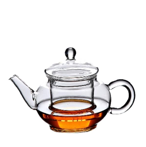Cute Mini Glass Teapot with Inbuilt Glass Infuser for brewing loose leaf organic and herbal tea