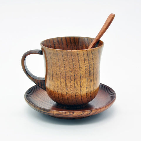 Wooden Teacup, Saucer and Teaspoon 3 Piece Set