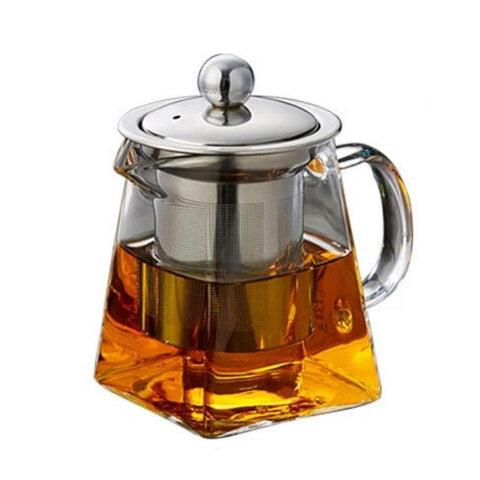 Geometric Angular Glass Teapot with inbuilt stainless steel infuser for brewing loose leaf organic and herbal tea