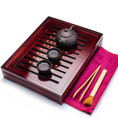 Chinese Wooden Tea Tray Set