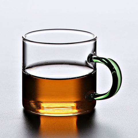 Modern Glass Teacup with Coloured Handle