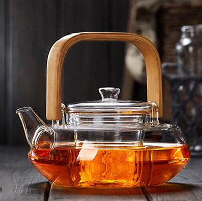 Japanese Style Glass Teapot With Bamboo Handle And Infuser for brewing loose leaf organic and herbal tea