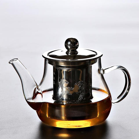 Glass Teapot with Chinese Pattern Inbuilt Infuser for brewing loose leaf organic and herbal tea