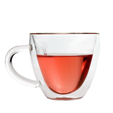 Heat-Resistant, Double-Wall Heart-Shaped Glass Teacups