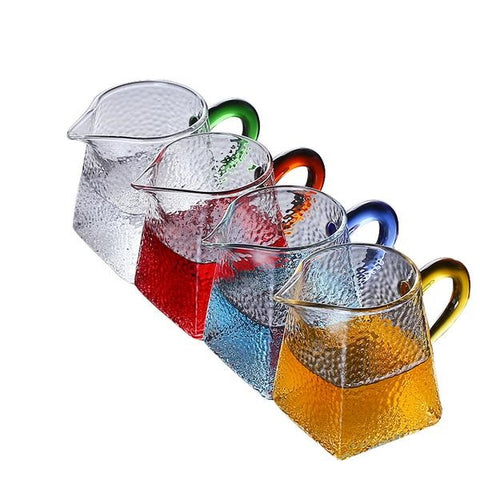 Glass Tea Pitcher (Chahai) with Coloured Handle