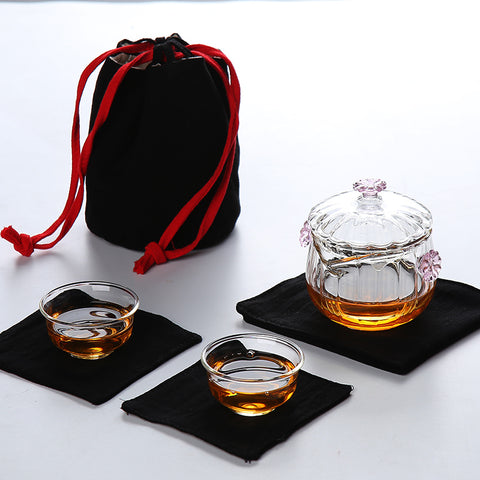 Elegant & Portable Gaiwan Tea Set with Black Travel Cloth