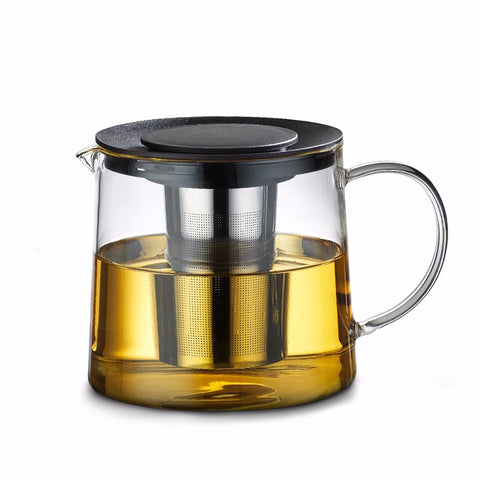 Modern Cylindrical Glass Teapot with Infuser for brewing loose leaf organic and herbal tea