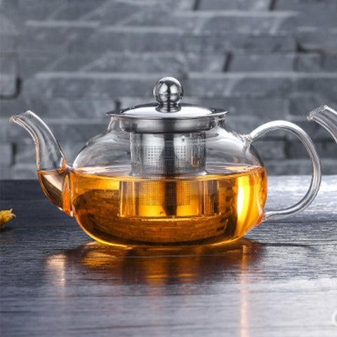 Classic Glass Teapot with inbuilt stainless steel infuser for brewing loose leaf organic and herbal tea