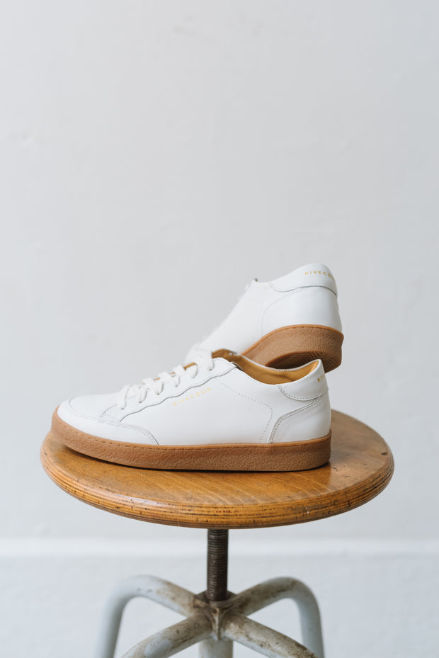 Baskets Rivecour no.14 cuir blanc miel Bonny Lyon