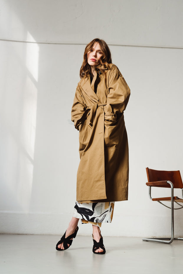 Trench oversized Brown camel Umbrella Laurence Bras Bonny Lyon