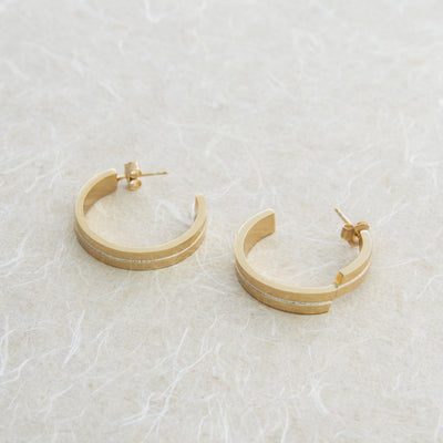 Gold Geometric Half Hoop Earrings