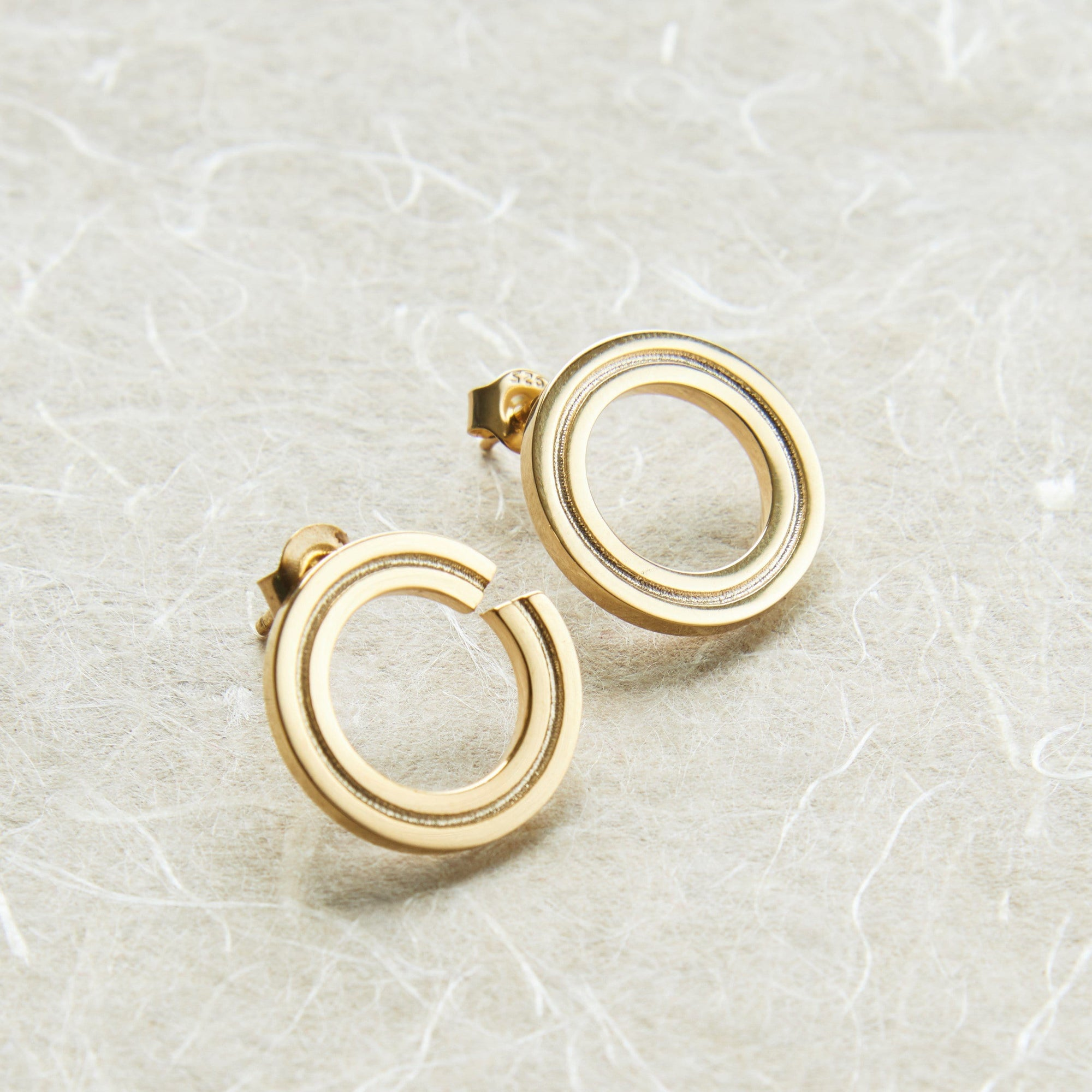 Ada Round Gold Stud Earrings