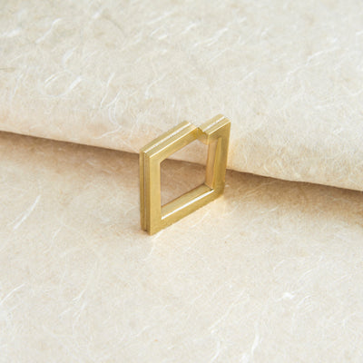 Gold Geometric Square Ring