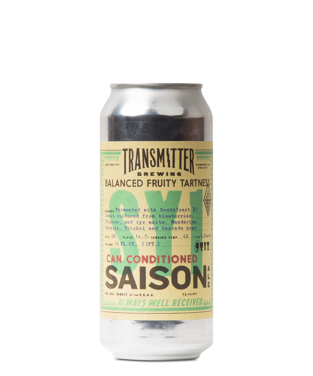 SY1 Rye Saison - Transmitter Brewing Delivered By TapRm