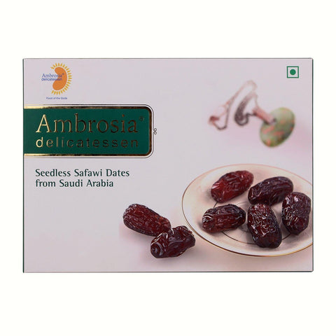 Ambrosia Delicatessen Seedless Safawi Dates from Saudi Arabia