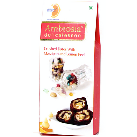 Ambrosia Delicatessen Crushed Dates with Marzipan & Lemon Peel - 100 gms