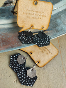 Leather EARRING Starry night