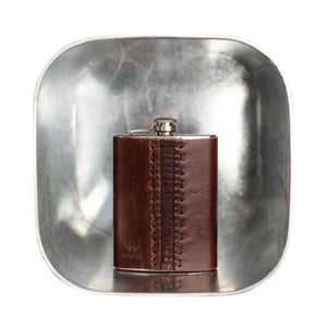 Hip Flask with Leather Pocket Men