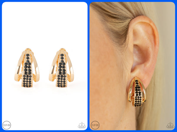 Bank Night - Gold Clip-On Earrings